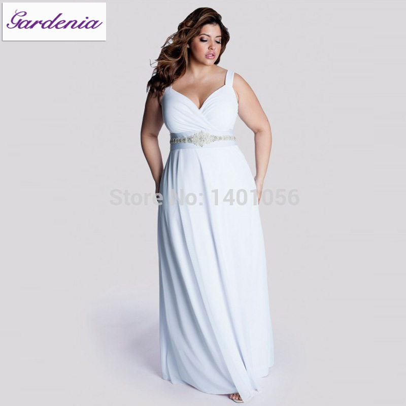 Robe de mariage plus size casual beach wedding dress long for Beach wedding dresses for plus size
