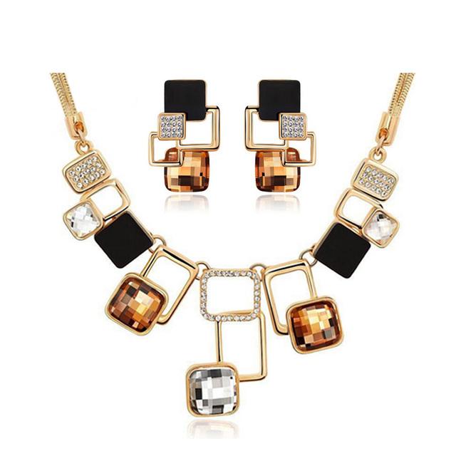 Geometric Design 18K Gold Filled Rhinestone Crystal Necklace Earring Set For Women