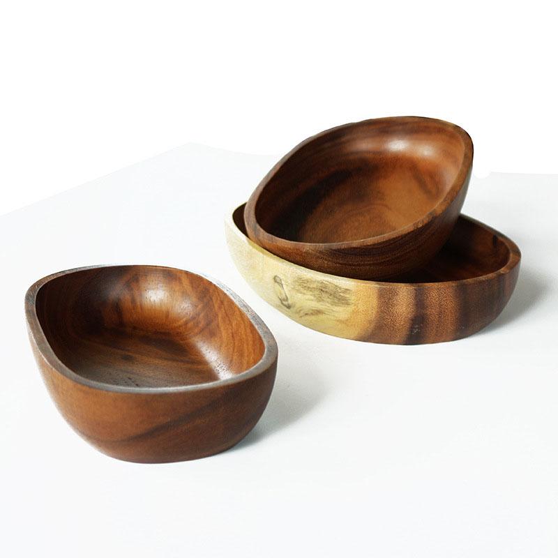 Acacia Wood Plates : Fruit salad dishes oval flat plates kitchen tableware
