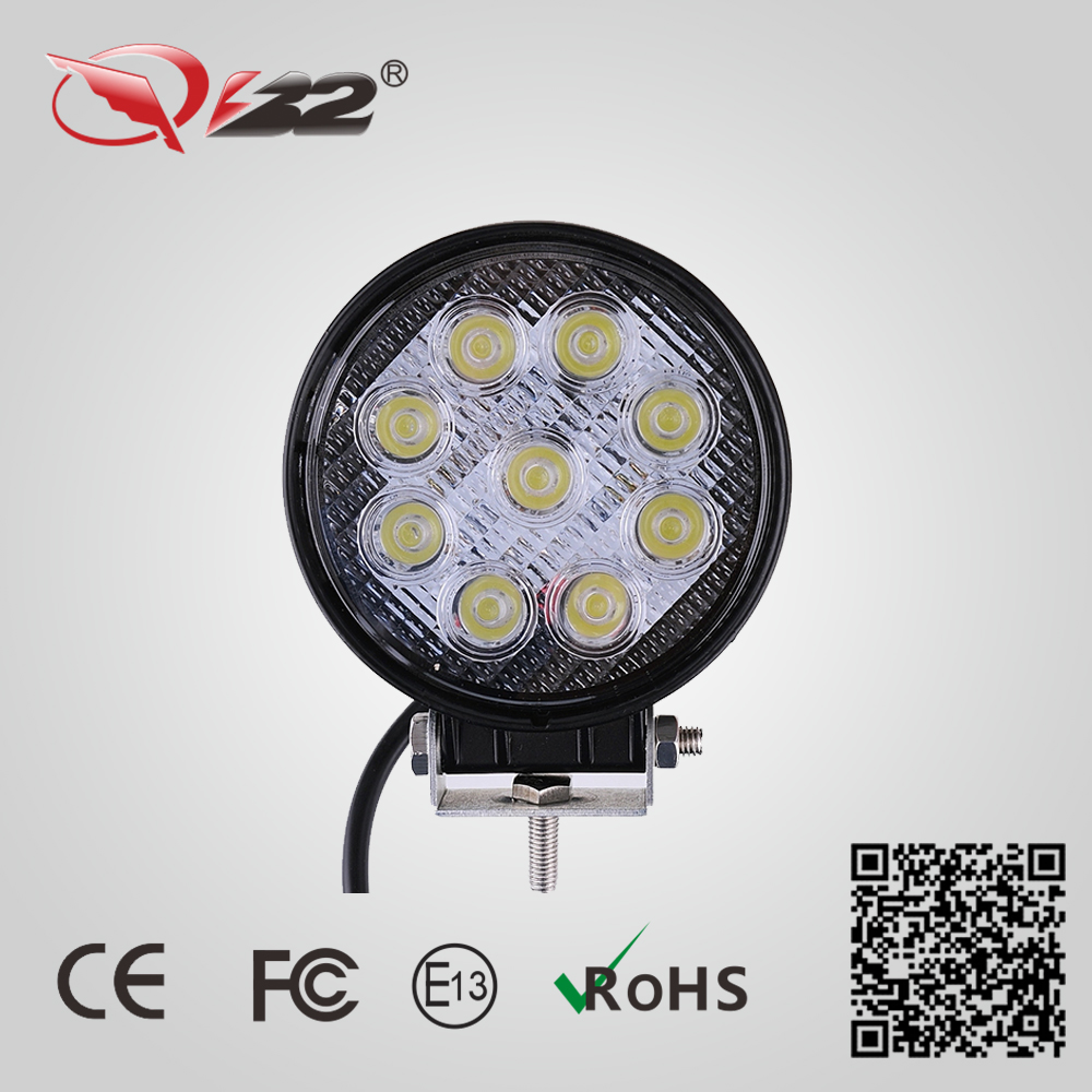 27 W LED work light, car LED light, car external Lights, 9*3W Bridelux chip, spot and flood beam(China (Mainland))