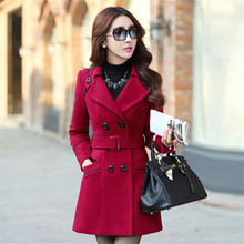 Plus Size 2016 New Fall And Winter Clothes Woman Long Design Wool Coat Female Fashion Slim Thin Long Blends Trench Overcoat XXXL(China (Mainland))