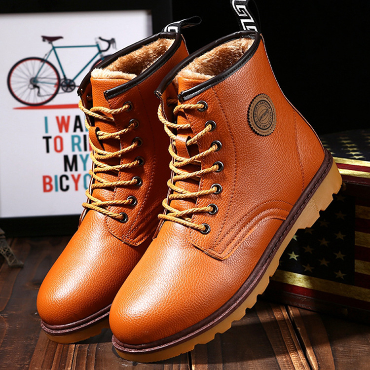 2016 New Winter Casual Men's Shoes High Top Ankle Leather Boots Warm Plush Lace-Up Martin Men Round Toe Non-Slip Flats