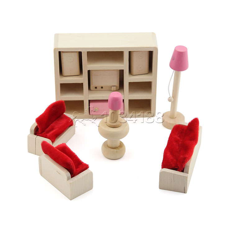 11 Piece Nature Wood Wooden Doll House Furniture Living Lounge Room Toy Pink In Model Building