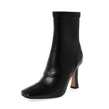 ISNOM Streç Yüksek Topuklu Çizmeler Kadın Yılan Derisi Ayak Bileği Patik Kış Kare Ayak Çorap Ayakkabı Kadın Deri parti ayakkabıları Bayanlar(China)