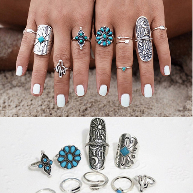 Bohemia Turquoise Ring 9pcs/Set Carved Geometric Antique Silver Ethnic Ring For Women