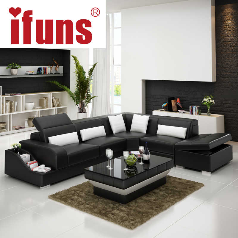 Ifuns recliner leather corner sofa set european style l shape modern leather sectional sofa set - Modern living room furniture set ...