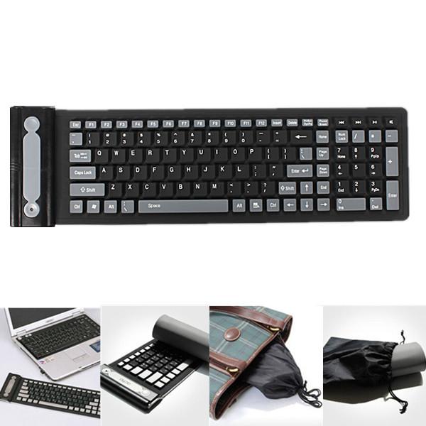 Black English 2.4GHz wireless folding silicone keyboard standard mini USB dongle waterproof dustproof(China (Mainland))