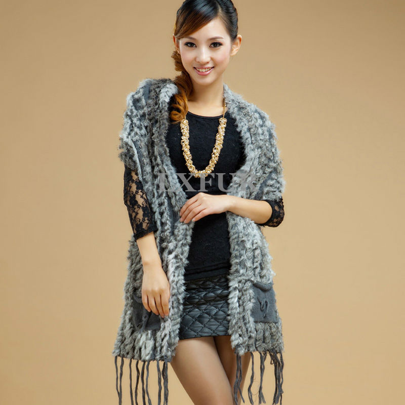Casual Real Knitted Rabbit Fur Shawl Poncho Womens Casual Rabbit Fur Vests Long Scarves with Tassels LX00103(China (Mainland))