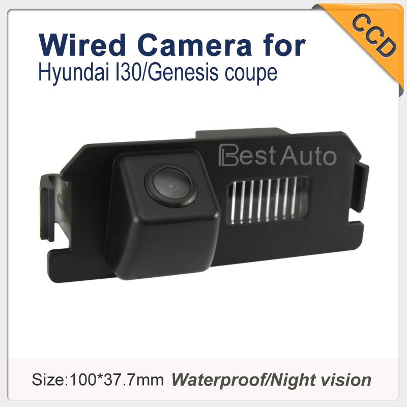 Free shipping wired HD CCD car rear view reverse backup parking camera for Hyundai I30/Genesis coupe night vision waterproof(China (Mainland))