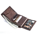 teemzone Promotioin Hot Selling Men s Crazy Horse Leather Vintage Daily Wallet Pockets Bifold Male Purse