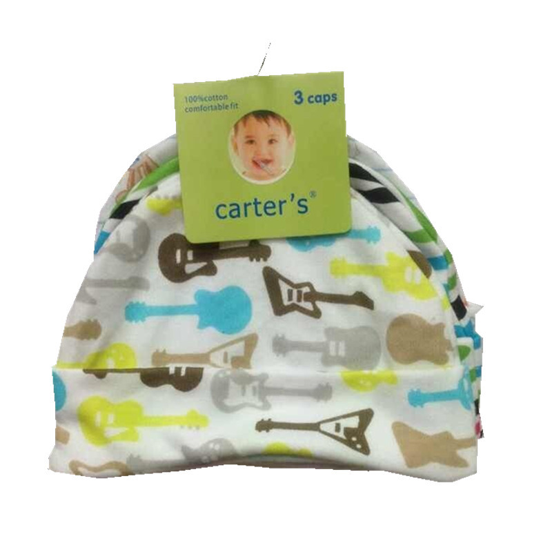 CARTERS Baby HATS for Boy Girl 3pcs/lot Brand Fotografia 100%COTTON Newborn Boy Crochet Hats 3-Pack Infant Caps,0-6 Months CP20(China (Mainland))