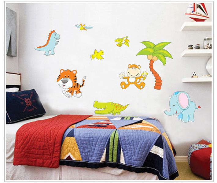 Real cartoon dinosaur wall sticker animals for kids rooms for Dinosaur kids room decor