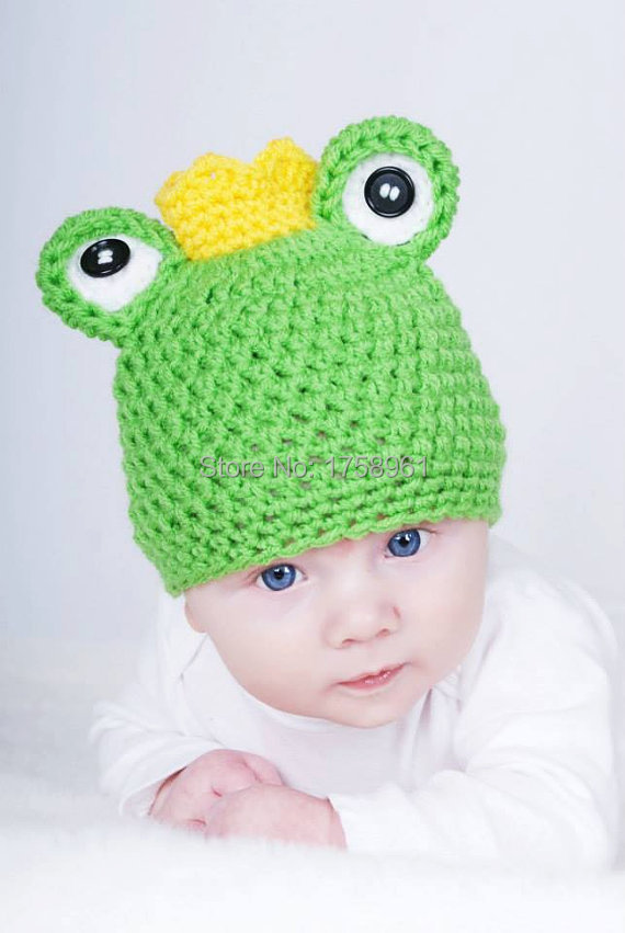 Crochet baby hat,frog prince hat , baby photo prop, knit newborn hat,animal hat(China (Mainland))