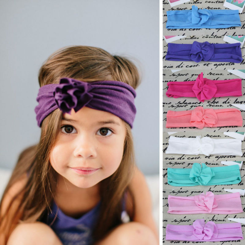 New baby girls summer style drape flower headband headwrap infant toddler cotton hair accessories band(China (Mainland))