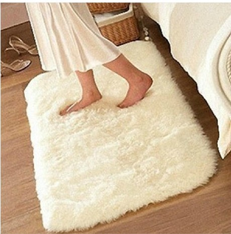 80*160cm White Washable super cute round rug living room bedroom bedside carpet upholstery computer mat - Sunday Girl's Time store