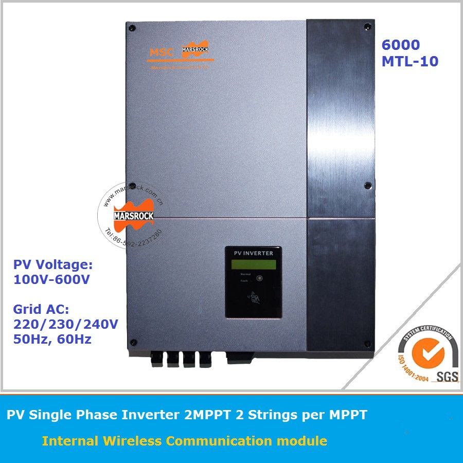 6000W 220v On Grid Solar Inverter with 2 High efficiency MPPT and LCD display for multi-languages rs232 for monitoring system(China (Mainland))