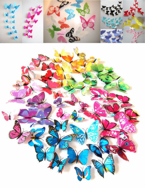 2015 Hot Sale free shipping 12pcs PVC 3d Butterfly wall decor cute Butterflies wall stickers art Decals home Decoration(China (Mainland))