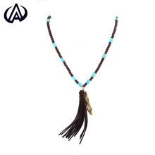 Fringed beaded long section of the new national wind wood wooden bead necklace wooden jewelry turquoise gold-plated silver NK080
