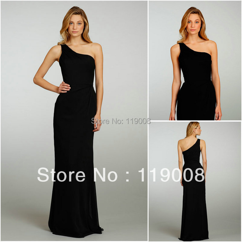 Black long dresses for wedding guest one shoulder chiffon for Wedding guest long dresses