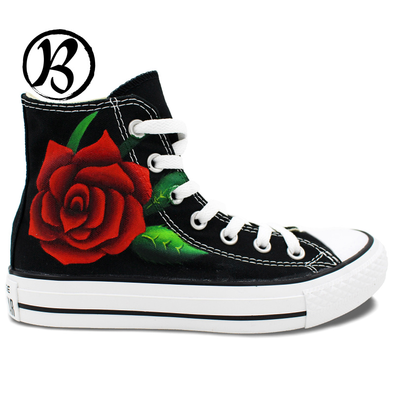 Black High Top Canvas Shoes Red Roses Painted Shoes Man Woman Boy Girl Birthday Gifts Hand Painted Art(China (Mainland))