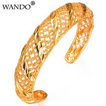 Wando รูปแบบ Hollow ร้อนสร้อยข้อมือและกำไลข้อมือดอกไม้ Cuff Gold สีขายส่ง Vintage(China)