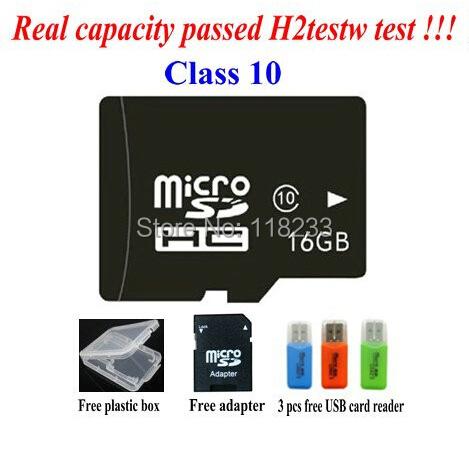 free shipping real capacity memory 2G 4G 8GB class 4 16GB 32GB 64GB class 10 micro sd hc card Pass h2testw + Free adapter reader(China (Mainland))