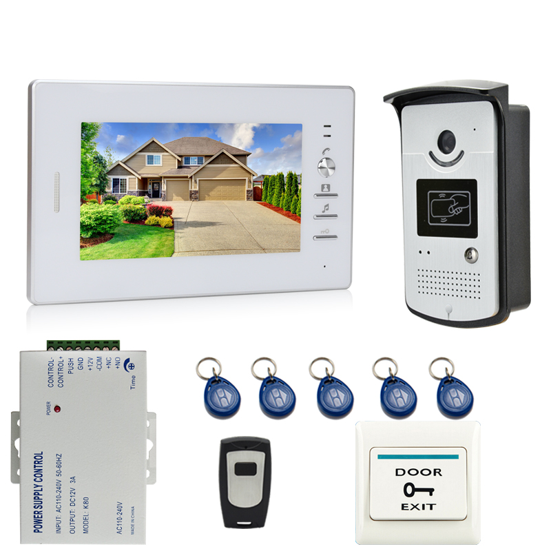 Brand New 7`` Color Screen Video DoorPhone Intercom System 1 Monitor +700TVL RFID Access Camera + Remote Control FREE SHIPPING(China (Mainland))