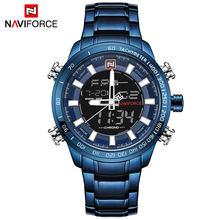 NAVIFORCE Top marque hommes Sport militaire montres hommes LED analogique montre numérique homme armée en acier inoxydable Quartz horloge Relogio Masculino(China)