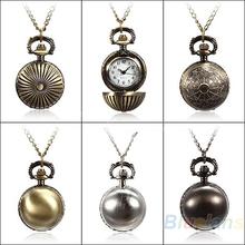5 Colors Antique Retro Vintage Ball Metal Steampunk Quartz Necklace Pendant Chain Small Pocket Watch For Gift