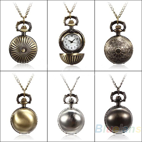 5 Colors Antique Retro Vintage Ball Metal Steampunk Quartz Necklace Pendant Chain Small Pocket Watch For Gift 1DC2(China (Mainland))