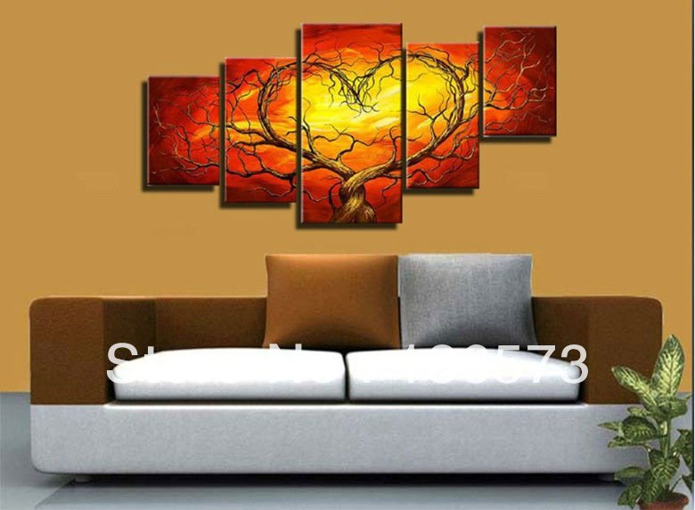 Red Yellow Couple Lovers Heart Tree Art Canvas Painting Oil Cheap Wall Art Decor Room Pictures