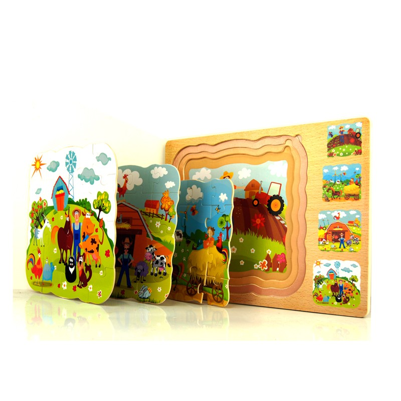 Jigsaw Puzzle Toys Multilayer Wooden Early education Classic Story Farm Animal Basswood Baby Children Kid Gift(China (Mainland))