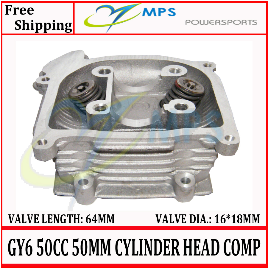 GY6 100cc 50mm big bore cylinder head assy with 16 18 64mm valves installed for 4T