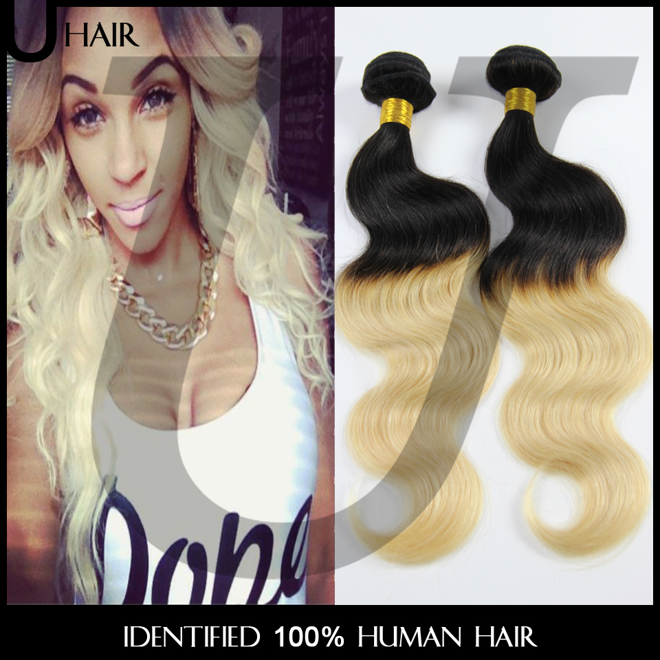 Peruvian Virgin Hair Body Wave Ombre Hair Extensions 3PCS Blonde 1B 613 Ombre Wavy Hair 10-30Inch Two Tone Remy Human Hair 6BC22