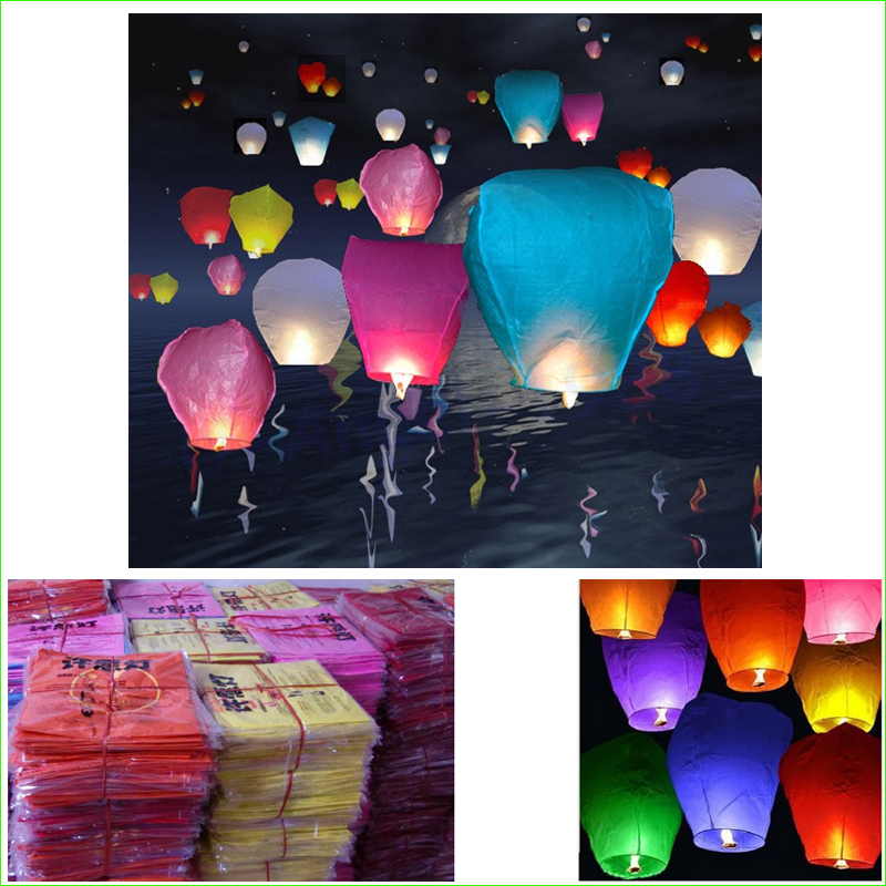 10pcs/lot New Year Party Romantic Sky Lanterns Paper Flying Balloons with Fuel For Wedding Party Birthday Wedding Decoration