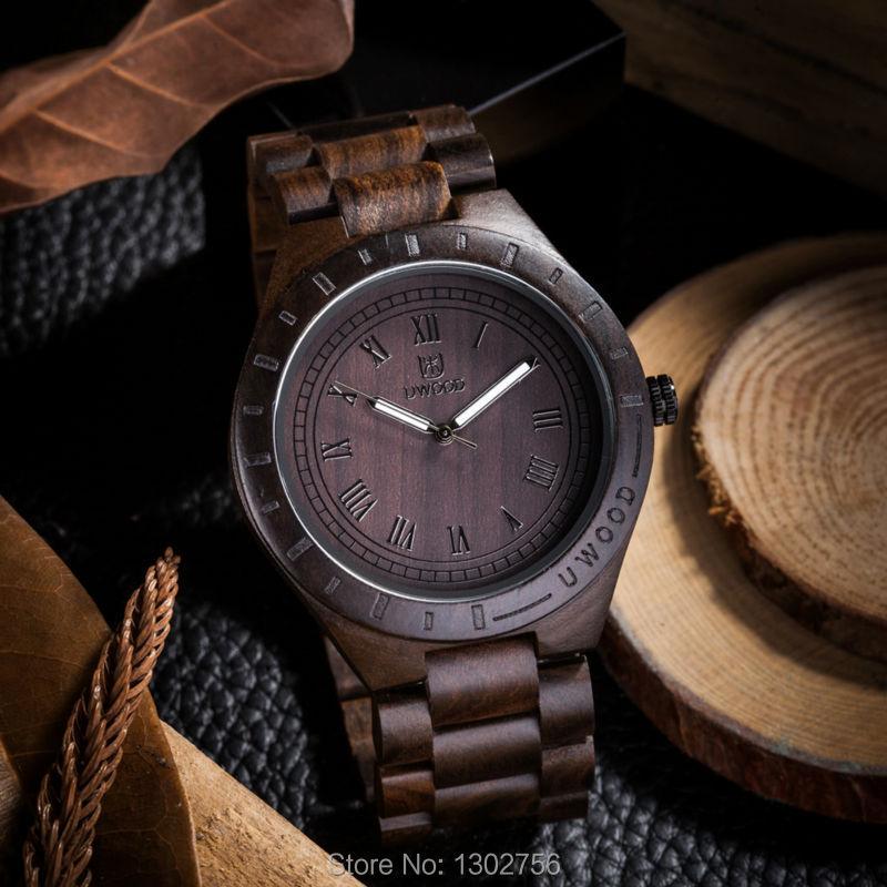 2016 New Natural Black Sandal Wood Analog Watch UWOOD Japan MIYOTA Quartz Movement Wooden Watches Dress Wristwatch For Unisex(China (Mainland))