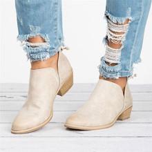 女性の靴のファッション足首固体革マーチンブーツショートブーツ指摘単一の靴のブーツ秋(China)