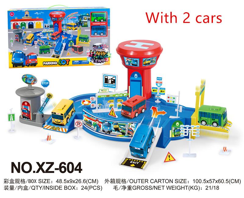 2017 sale korean Cute Cartoons garage tayo depot the little bus model mini tayo parking lot plastic baby car for Christmas gift(China (Mainland))