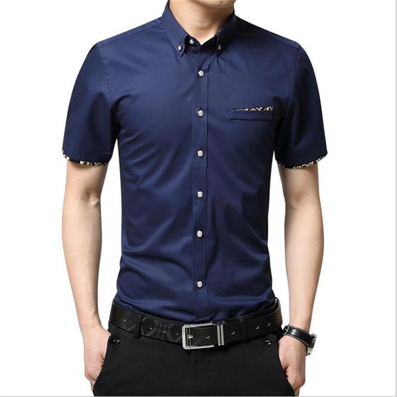 New Fashion Contrast Color Collar Men Shirt Short Sleeve