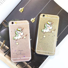 Epoxy glitter cute unicorn For Apple 6plus phone shell iphone6s transparent protective sleeve soft shell drop resistance