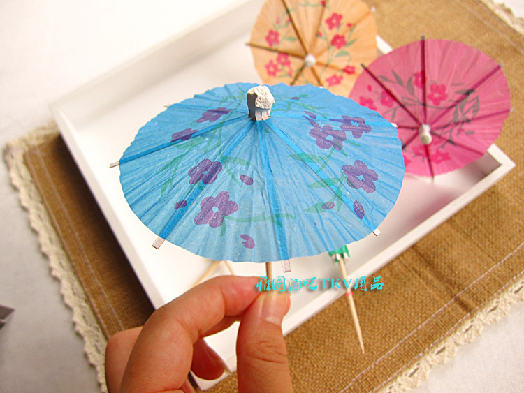 100pcs NEW Design Handmade Toothpick Umbrella Supply Party Wedding Topper Favor Gift Fruit Juice Smoothies Decoration Supplies(China (Mainland))
