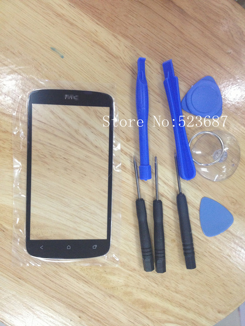 Free Shipping Black 100% Quality good Original Outer LCD Touch Screen Lens Top Glass For HTC one S Z520e+Free tools