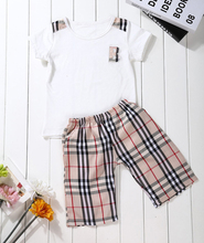 Retail boy clothes casual children suit summer style boy clothing set fashion kids clothes plaid tees