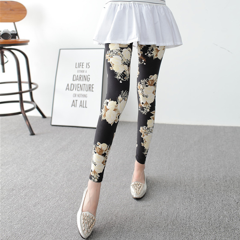 New Fashion version women spring elastic colored flowers Star Graffiti printing leggings For Women adventure time Casual Pants(China (Mainland))