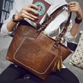 2016 Vintage Leather Handbag Women Bag Shopping Tote Female Famous Designer Tassel Bag Ladies Large Shoulder