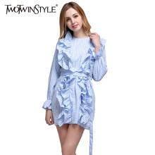 TWOTWINSTYLE клетчатое платье-туника для женщин, с оборками, на шнуровке, с высокой талией, расклешенными рукавами, ТРАПЕЦИЕВИДНОЕ мини-платье, Же...(China)