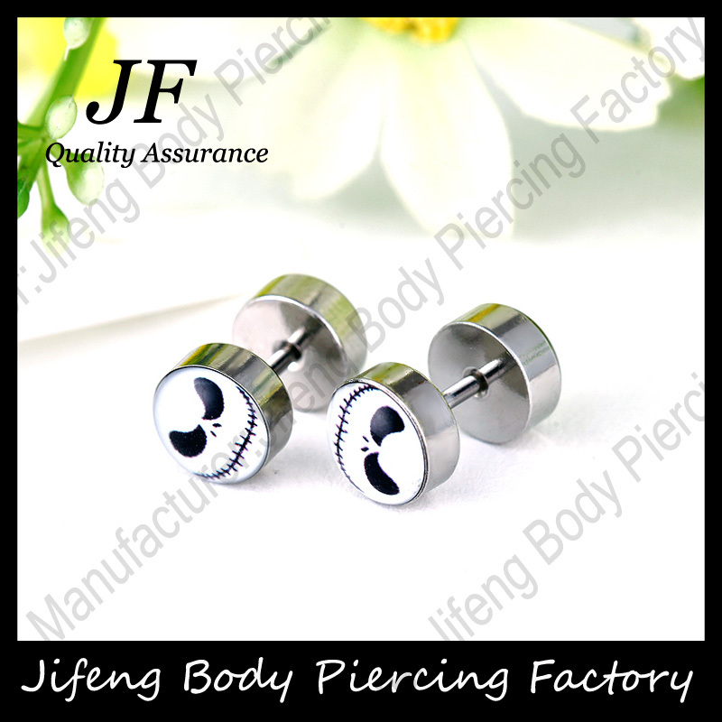 1pair Ghost Logo Cheater Earrings Surgical Steel Poker Face Fake Piercing Ear Plugs Body Jewelry 1.2*6*8/8mm/16G FP41 - cottvott piercing jewelry store