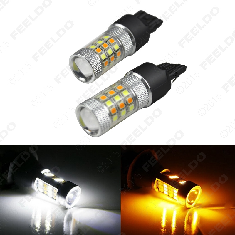 2Pcs Xenon White/Amber No Hyper Flash 7443 2835 Chip 42SMD Switchback LED Bulbs For Front Turn Signal Lights #J-5313(China (Mainland))