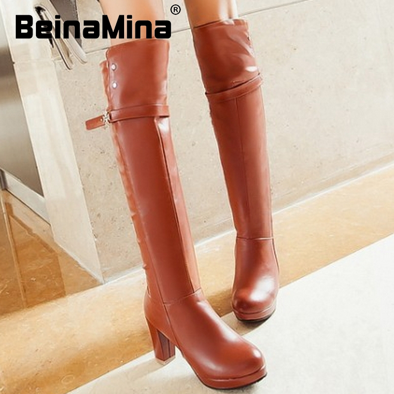 CooLcept Free shipping over knee thin heel boots women snow fashion winter warm footwear shoes boot P15918 EUR size 34-45<br><br>Aliexpress