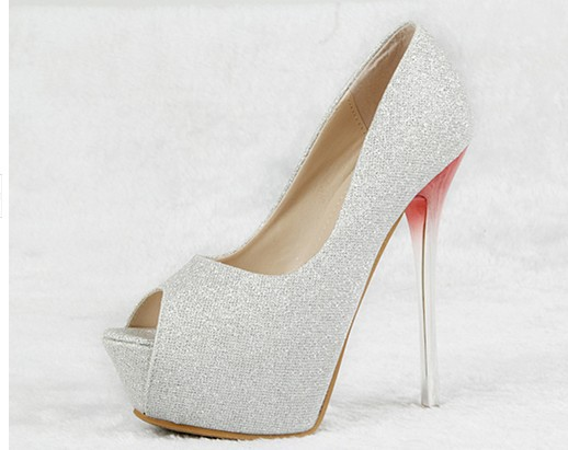 Black gold wedding shoes super high heels silver high-heeled fish head - sun glasses and retail store